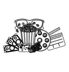 Pop corn 3d glasses clapper board and money vector
