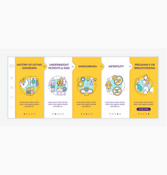 Precautions for dieting onboarding template vector
