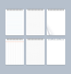 realistic 3d detailed notebook lined spiral set vector image