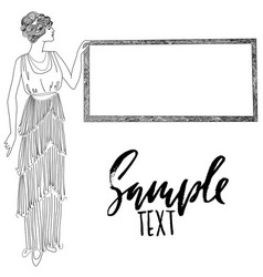 retro style girl vintage card black and white vector image