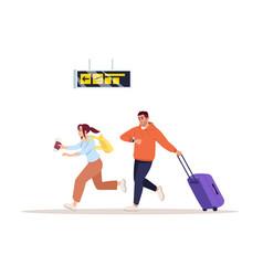 Rush to flight semi flat rgb color man and woman vector
