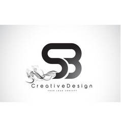 Sb letter logo design with black smoke vector