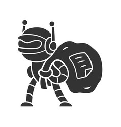 Scraper bot glyph icon malicious bad robot vector