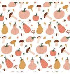 seamless autumn pattern with leaves pumpkins vector image