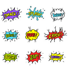 set hand drawn comic speech bubbles vector image