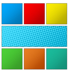 set of colorful retro comic book page background vector image