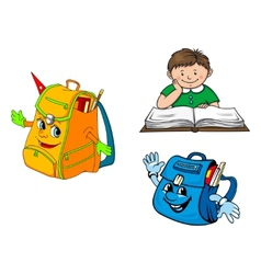 Set of colorful school education icons vector image