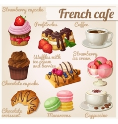 Set of food icons French cafe Chocolate cupcake vector image