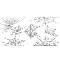 set of outline spider web vector image