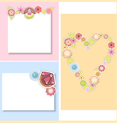 Set of templates for cardsweddingvalentines day vector