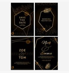 Set of wedding invitations black and golden vector