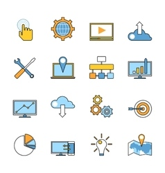 set responsive web development line icons flat vector image