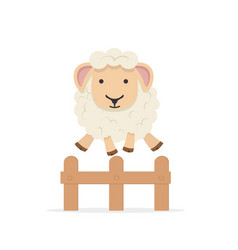 sheep jumping over fence vector image