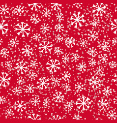 Simple snowflakes on red vector