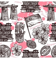 Singapore Hand Drawn Sketch Seamless Pattern vector image