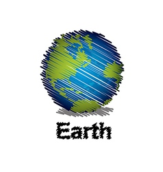 Sketch the earth handwriting style vector