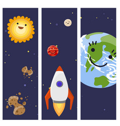 space landing planets spaceship cards design vector image