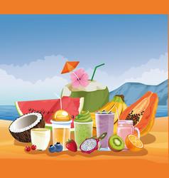 Summer vacations and beach cartoons vector