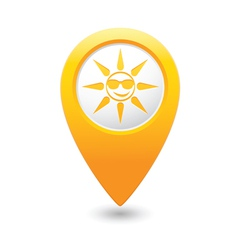Sun symbol yellow map pointer vector