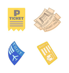ticket icon set cartoon style vector image