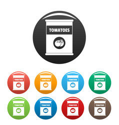 tomatoes can icons set color vector image