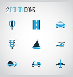 Transportation colorful icons set collection of vector