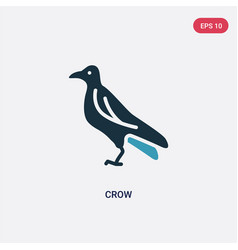 two color crow icon from animals concept isolated vector image