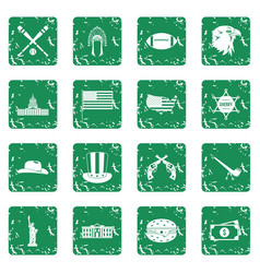 Usa icons set grunge vector