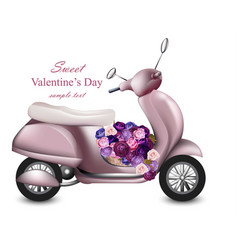 valentines day card with pink scooter and flowers vector image