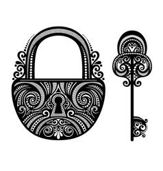 Vintage Lock with a Key vector