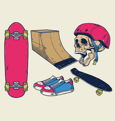 Vintage skateboard objects set in hand drawing vector