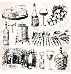 Vintage winery wine production handmade draft vector