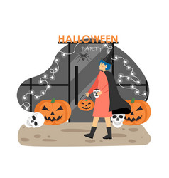 Woman in witch halloween costume going to night vector