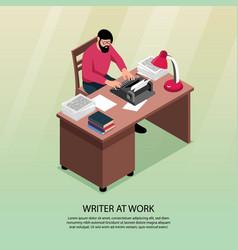 Writer isometric poster vector