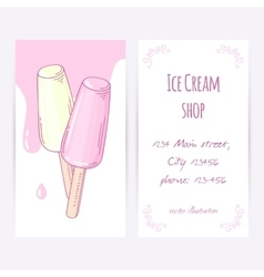Business card template with hand drawn fruity ice vector image vector image
