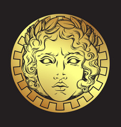 Hand drawn antique style sun with face of apollo vector