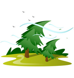 wind tree isolated vector image vector image