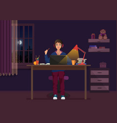 a girl sitting at the laptop and working at night vector image