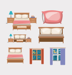 Color background with bedroom and elements home vector