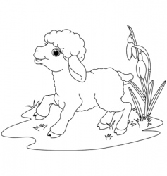 Easter lamb coloring page vector image vector image