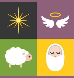 jesus born icons set vector image