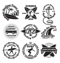 Set of vintage surfing labels with - surfboard vector image vector image