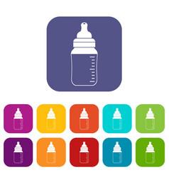 baby milk bottle icons set flat vector image vector image