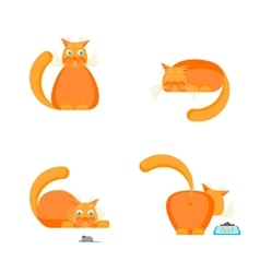 Cute Orange Cat Set vector image vector image