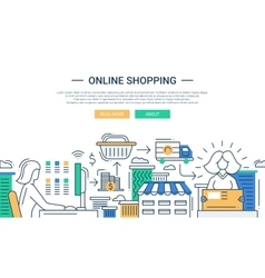 Online shopping line flat design banner with a vector image