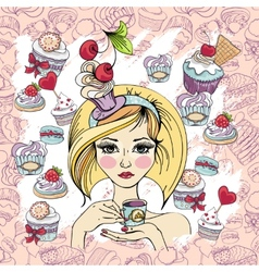 sweet cupcake party background pattern vector image vector image