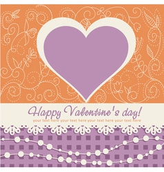 Valentines Day heart floral invitation postcard vector image vector image