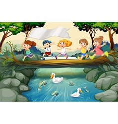 Children hiking in the woods vector image
