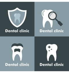 Dental clinic logo on gray background vector image vector image