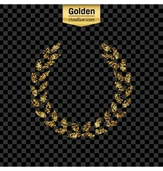 Gold glitter icon of laurel wreath isolated vector image